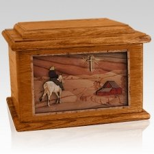 Horse & Cross Mahogany Memory Chest Cremation Urn