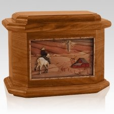 Horse & Cross Mahogany Octagon Cremation Urn