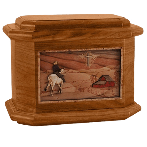 Horse & Cross Mahogany Octagon Cremation Urn