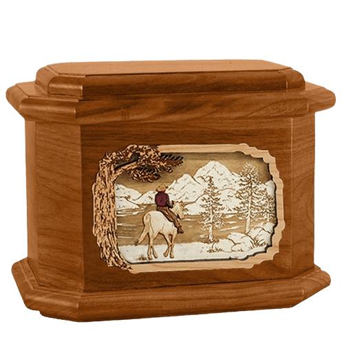 Horse & Lake Mahogany Octagon Cremation Urn