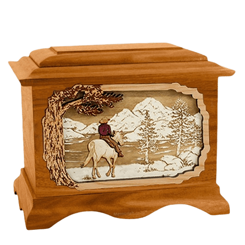 Horse & Lake Mahogany Cremation Urn