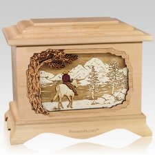 Horse & Lake Maple Cremation Urn