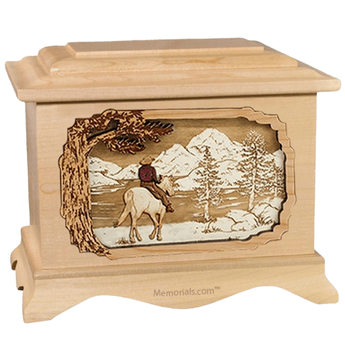 Horse & Lake Maple Cremation Urn