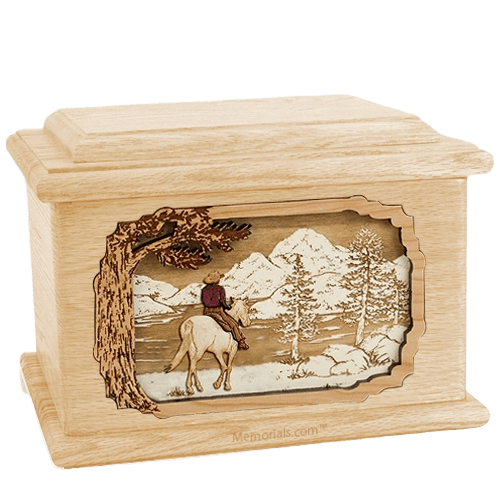 Horse & Lake Maple Memory Chest Cremation Urn