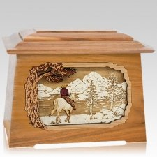 Horse & Lake Oak Aristocrat Cremation Urn