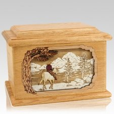 Horse & Lake Oak Memory Chest Cremation Urn