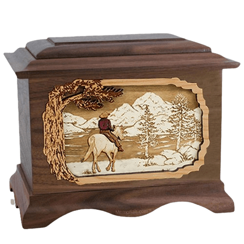Horse & Lake Walnut Cremation Urn