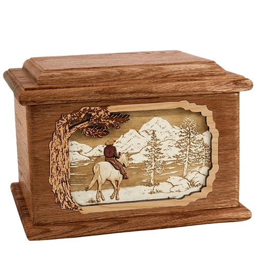 Horse & Lake Walnut Memory Chest Cremation Urn