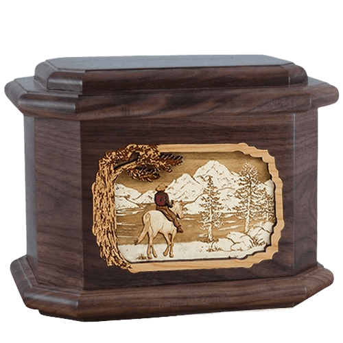 Horse & Lake Walnut Octagon Cremation Urn