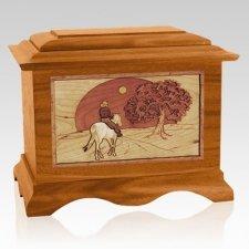 Horse & Moon Mahogany Cremation Urn