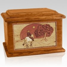Horse & Moon Mahogany Memory Chest Cremation Urn