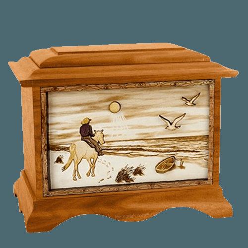 Horse Beach Mahogany Cremation Urn