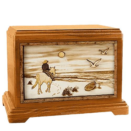 Horse Beach Mahogany Hampton Cremation Urn