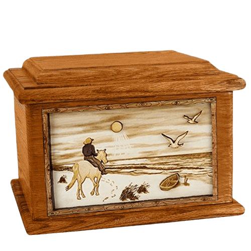 Horse Beach Mahogany Memory Chest Cremation Urn