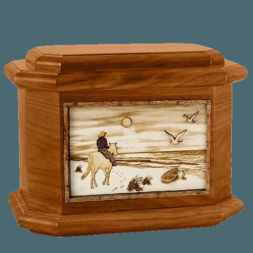 Horse Beach Mahogany Octagon Cremation Urn
