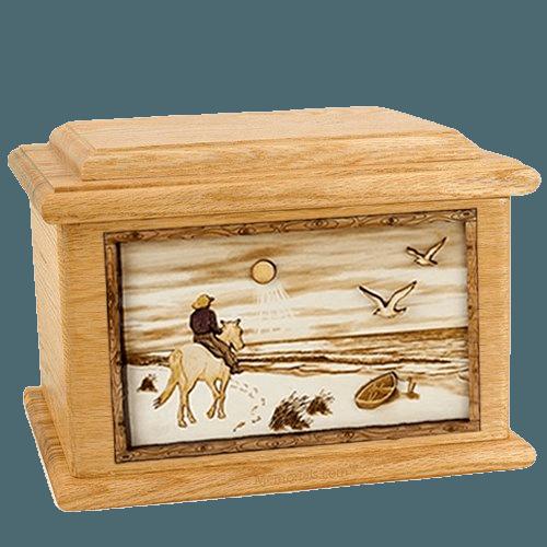 Horse Beach Oak Memory Chest Cremation Urn
