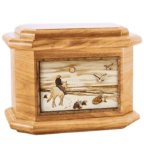 Horse Beach Oak Octagon Cremation Urn