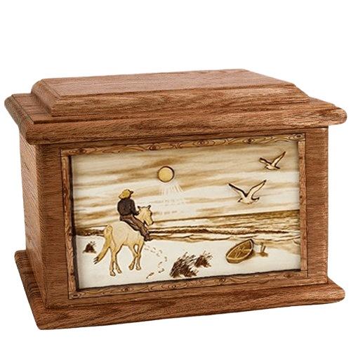 Horse Beach Walnut Memory Chest Cremation Urn
