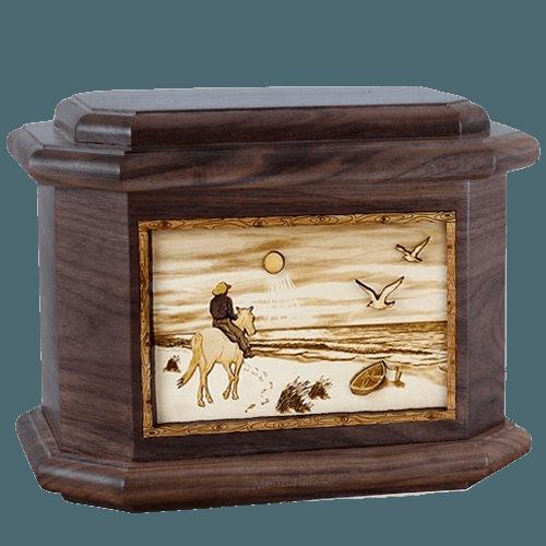 Horse Beach Walnut Octagon Cremation Urn