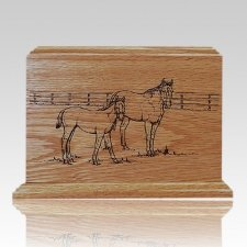 Horses Walnut Wood Urn