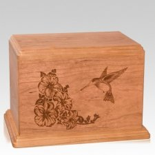 Hummingbird Companion Cherry Wood Urn