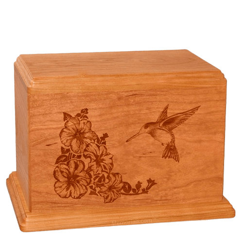 Hummingbird Companion Mahogany Wood Urn
