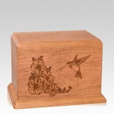 Hummingbird Individual Cherry Wood Urn
