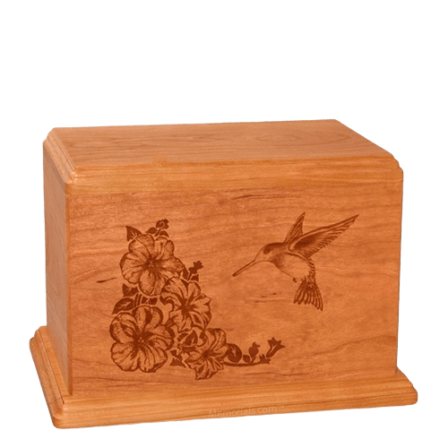 Hummingbird Individual Mahogany Wood Urn
