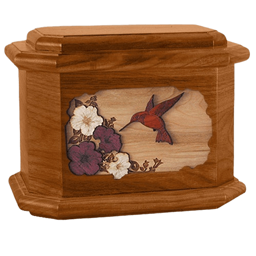 Hummingbird Mahogany Octagon Cremation Urn