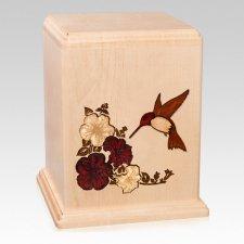 Hummingbird Maple Wood Cremation Urn