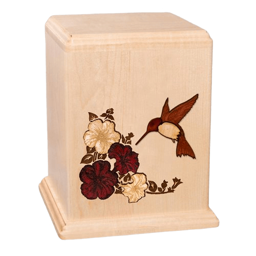 Hummingbird Maple Wood Cremation Urn