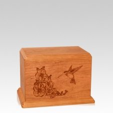 Hummingbird Small Mahogany Wood Urn