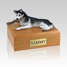 Husky Black & White Large Dog Urn