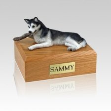 Husky Black & White Medium Dog Urn