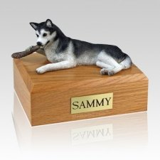 Husky Black & White X Large Dog Urn
