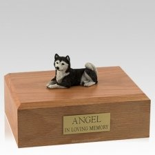 Husky Black Laying Dog Urns