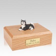 Husky Black Resting Large Dog Urn