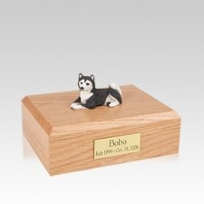 Husky Black Resting Medium Dog Urn