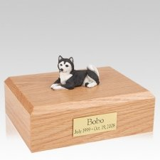Husky Black Resting X Large Dog Urn