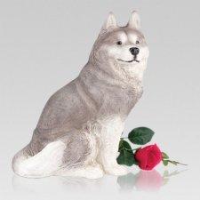 Husky Gray & White Dog Urn