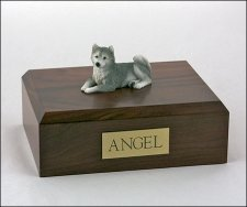 Husky Gray Resting Small Dog Urn