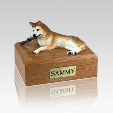 Husky Red & White Blue Eyes Large Dog Urn