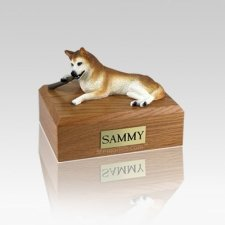 Husky Red & White Blue Eyes Small Dog Urn