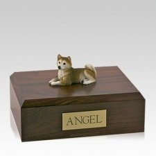 Husky Red Laying Large Dog Urn