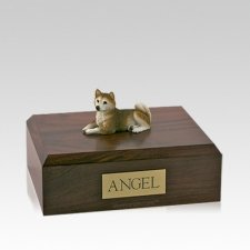 Husky Red Laying Medium Dog Urn