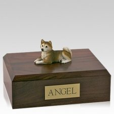 Husky Red Laying X Large Dog Urn