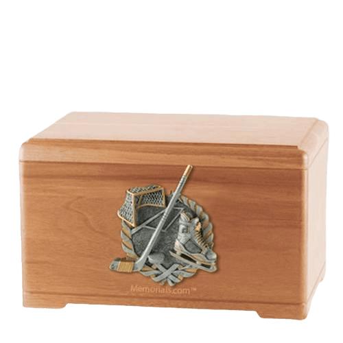 Ice Hockey Light Cherry Cremation Urn