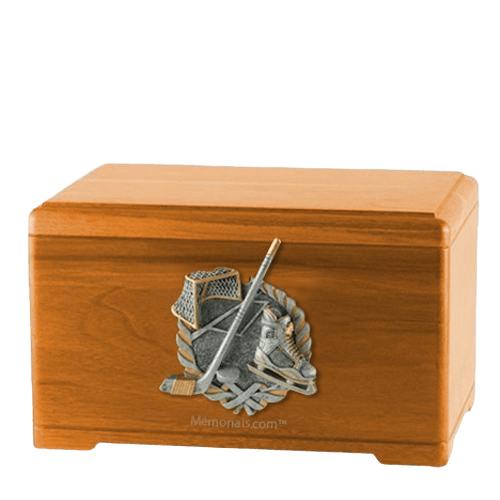 Ice Hockey Oak Cremation Urn