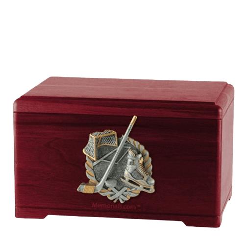 Ice Hockey Rosewood Cremation Urn