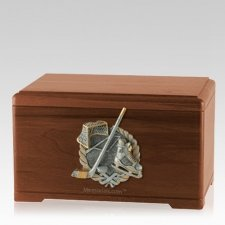 Ice Hockey Walnut Cremation Urn
